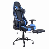 Viugreum High Back Swivel Chair Racing Gaming Chair Office Chair with Footrest Tier Black & Blue