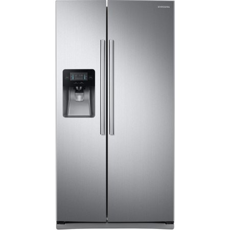 Samsung RS25J500DSR - Refrigerator/freezer - freestanding - width: 35.7 in - depth: 36.2 in - height: 69.9 in - 24.5 cu. ft - side by side with ice & water dispenser - stainless steel Key Features and Benefits:25 cu. ftWith our 25 cu. ft. large capacity Side-By-Side refrigerator, you can store up to 24.5 bags of groceries in a sleek 36 -wide model. *Grocery comparison based on each cubic foot of usable space equaling one paper bag. LED LightingLED lighting beautifully brightens virtually every corner of your refrigerator so you;re able to quickly spot what you want. Plus, it emits less heat and is more energy-efficient than conventional lighting. The sleek design saves more space than traditional incandescent light bulbs. Two Crisper DrawersTwo crisper drawers keep your produce crisp and fresh and provide superior storage space for all your fruits and vegetables. Digital LED DisplayThe digital LED Display is conveniently located above the water and ice dispenser on the refrigerator door. Its brightly lit LEDs display temperature, lets you know when the filter needs replacement and controls the water and ice dispenser. External Filtered Water and Ice DispenserGet great-tasting, filtered water directly from your refrigerator and spend less time and money buying bottled water. The external ice and water dispenser ensures that plenty of filtered water, crushed ice and cubed ice is always on hand.