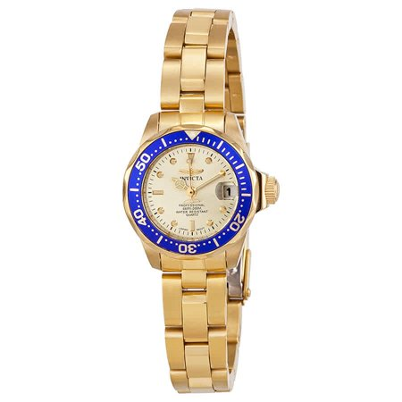 Women's Pro Diver Gold Dial 18K Gold Tone Stainless Steel Watch 14126 ()