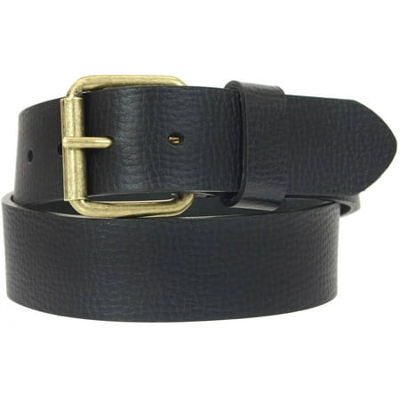 1-1/2 in. US Steer Hide Leather Pebble Grain Men's Belt with Antique Brass Finish Roller Buckle