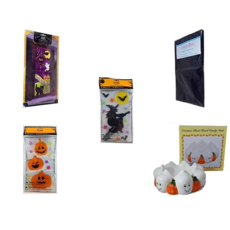 Halloween Fun Gift Bundle [5 Piece] - Happy  Door Panel - Black Plastic Table Cover  - Gel Clings Witch, Bats, Stars - Gel Clings Pumpkins, Stars -  Ceramic Ghost Head Candy Dish 5