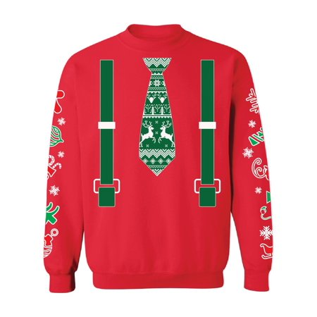 Awkward Styles Green Tie With Suspenders Christmas Tuxedo Sweatshirt Funny Xmas Gifts Christmas Suit Ugly Christmas Sweater with Graphic Sleeves All Over Print Xmas Ugly Sweater Holiday Gifts - Green Muscle Suit