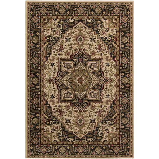 4' x 5.5' La Belle Fleur Jet Black, Olive Green and Beige Decorative Area Throw Rug