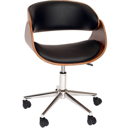 Armen Living Julian Modern Chair Black And Walnut Veneer
