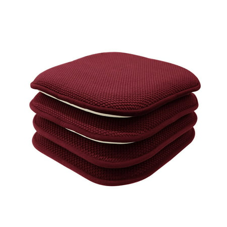 4 Pack: Premium Memory Foam Non Slip Chair Cushions - Assorted Colors