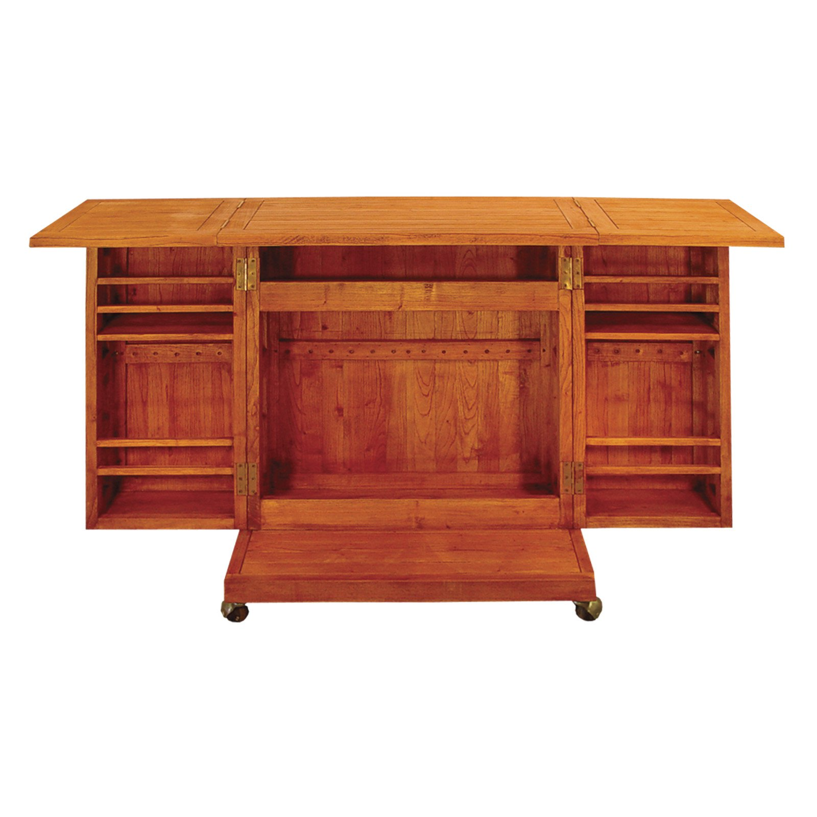 Terrace Mates Talavera Asian Hardwood All Purpose Compact, Fold-Out, Rolling Mini-Bar, Natural Oil Stain
