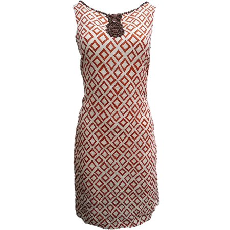Womens Cream Rust Brown Diamond Print A-Line Beaded Neckline Dress