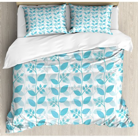 Spring Ski (Leaves Duvet Cover Set, Abstract Floral Pattern Botanical Inspirations Ornamental Gentle Spring Plants, Decorative Bedding Set with Pillow Shams, Sky Blue White, by)
