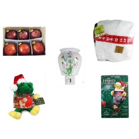 Christmas Fun Gift Bundle [5 Piece] - Set of 6 Mini Glass Ball Ornaments 1.5