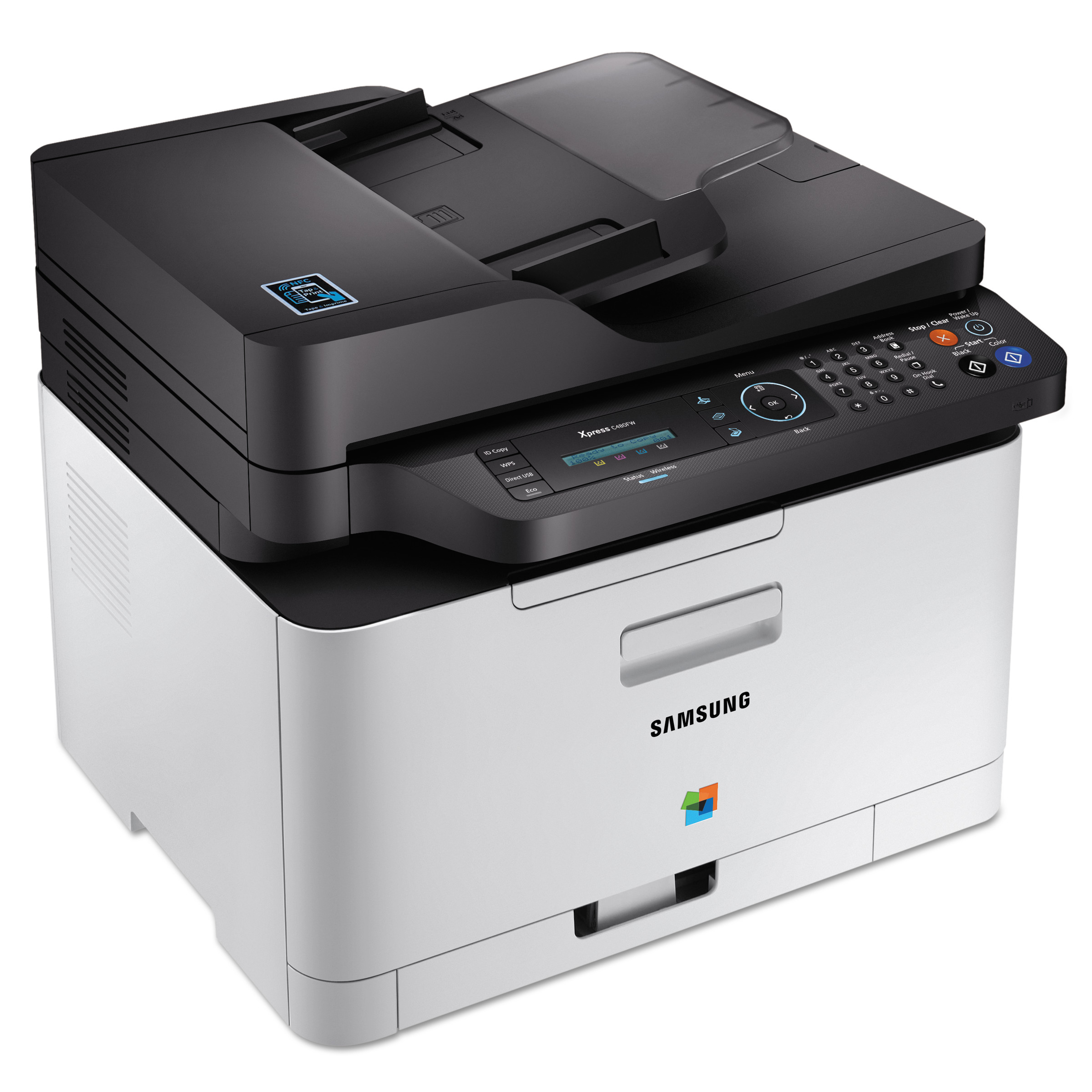 Samsung Xpress SL-C480FW Wireless Color Laser Multifunction Printer, Copy/Fax/Print/Scan