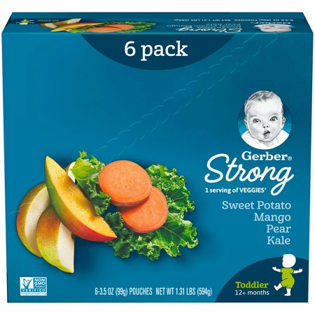 Gerber Strong Toddler Food, Sweet Potato Mango Pear Kale, 3.5 oz Pouch (Pack of 6) (Strong Punch)