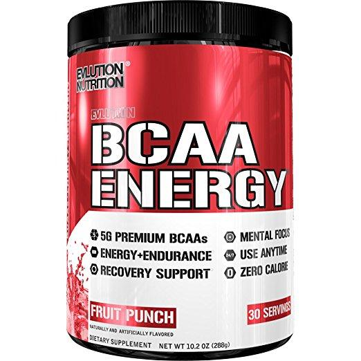 Evlution Nutrition BCAA Energy Powder, Fruit Punch, 30 Servings