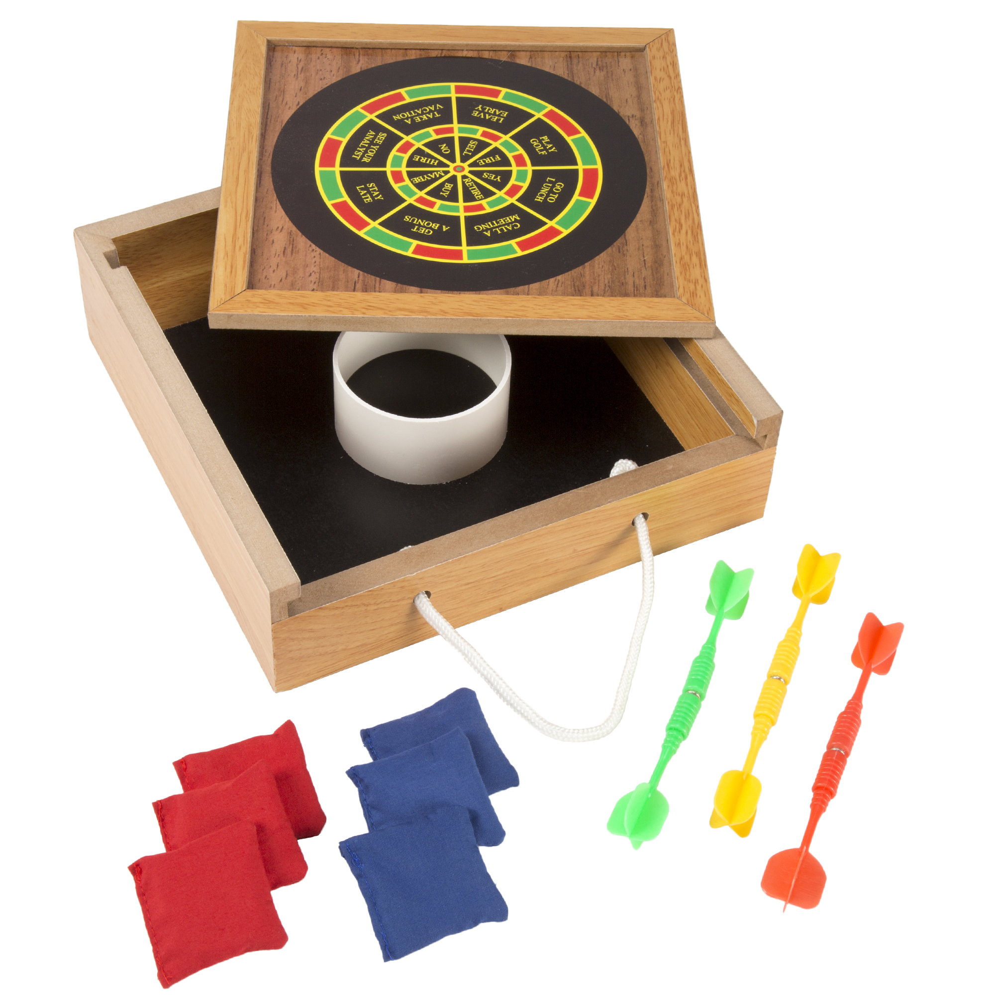 Tabletop Magnetic Dart and Beanbag Toss Set – Wooden Classic Miniature Party Games with Carrying Case for Kids and Adults by Hey! Play!