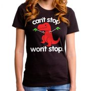Goodie Two Sleeves Juniors Can't Stop Won't Stop Dino T-Shirt