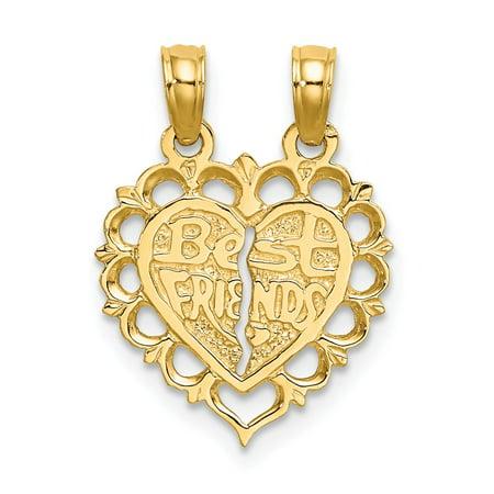 14k Yellow Gold Solid Polished Best Friend 2 Piece Break-Apart Heart Charm -