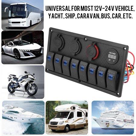 Yosoo 12V 24V Switch Panel 8 Gang Car Boat LED Rocker Switch Control Panel  Dual USB Voltmeter Cigarette Lighter Car Switches Panel