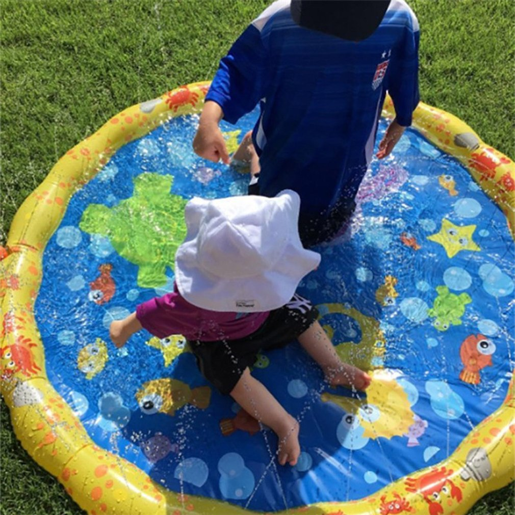 Outdoor Water Play Mat Sprinkler Kids Toy Activity Toddlers Baby Pool Fun New