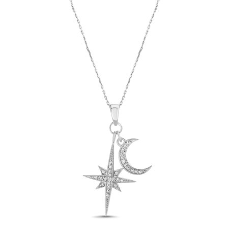 Lumineux Diamond Accent North Star and Crescent Pendant in Sterling Silver