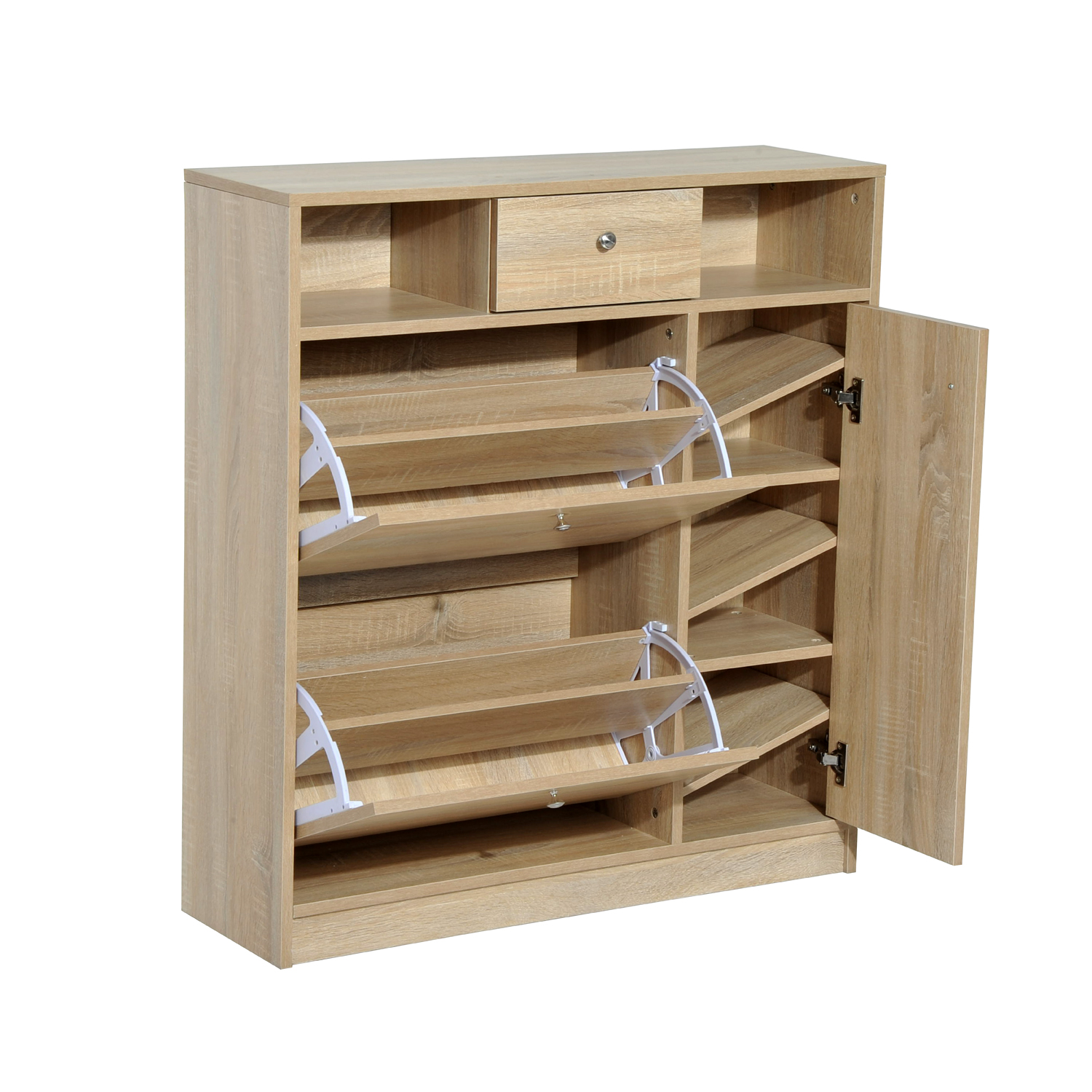 HomCom Shoe Cabinet - Pull Out Door & Drawer Organizer Closet - White Oak