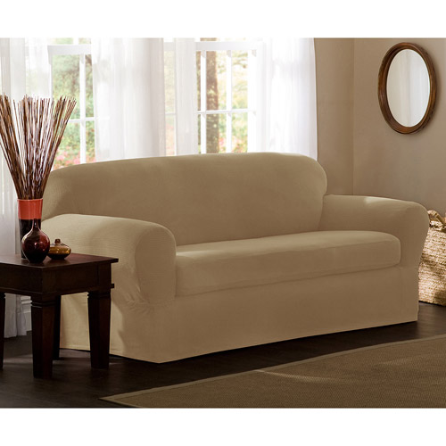 Maytex Stretch Reeves 2 Piece Loveseat Furniture Cover Slipcover, Chocolate Brown by Maytex