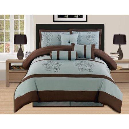 WPM King 7-Piece Embroidery Comforter Set, Aqua Blue / Brown ()