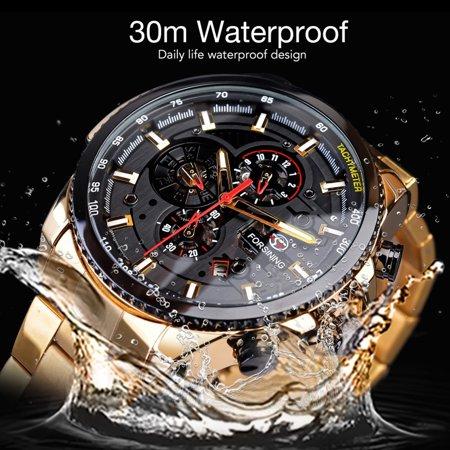 FORSINING Men Three Dials Stainless Steel Band Calendar Analog Watch Waterproof Automatic Mechanical Wrist Watch - image 5 of 7