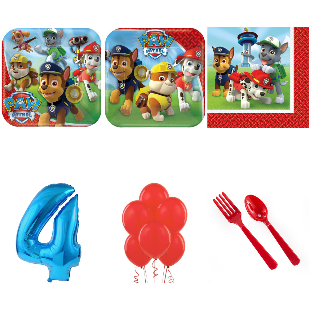 PAW PATROL PARTY SUPPLIES PARTY PACK FOR 32 WITH BLUE #3 BALLOON