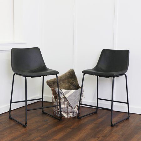 Walker Edison Modern Faux Leather Counter Stool, Set of 2 - Black (Faux Leather Counter Stool)