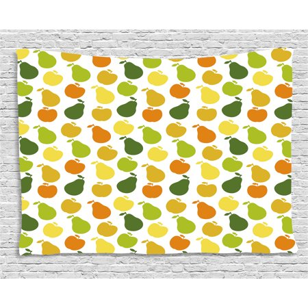 80s Themed Food Ideas (Fruits Tapestry, Apple and Pears Food Botany Fresh Healthy Garden Yummy Theme, Wall Hanging for Bedroom Living Room Dorm Decor, 80W X 60L Inches, Earth Yellow Lime and Hunter Green,)