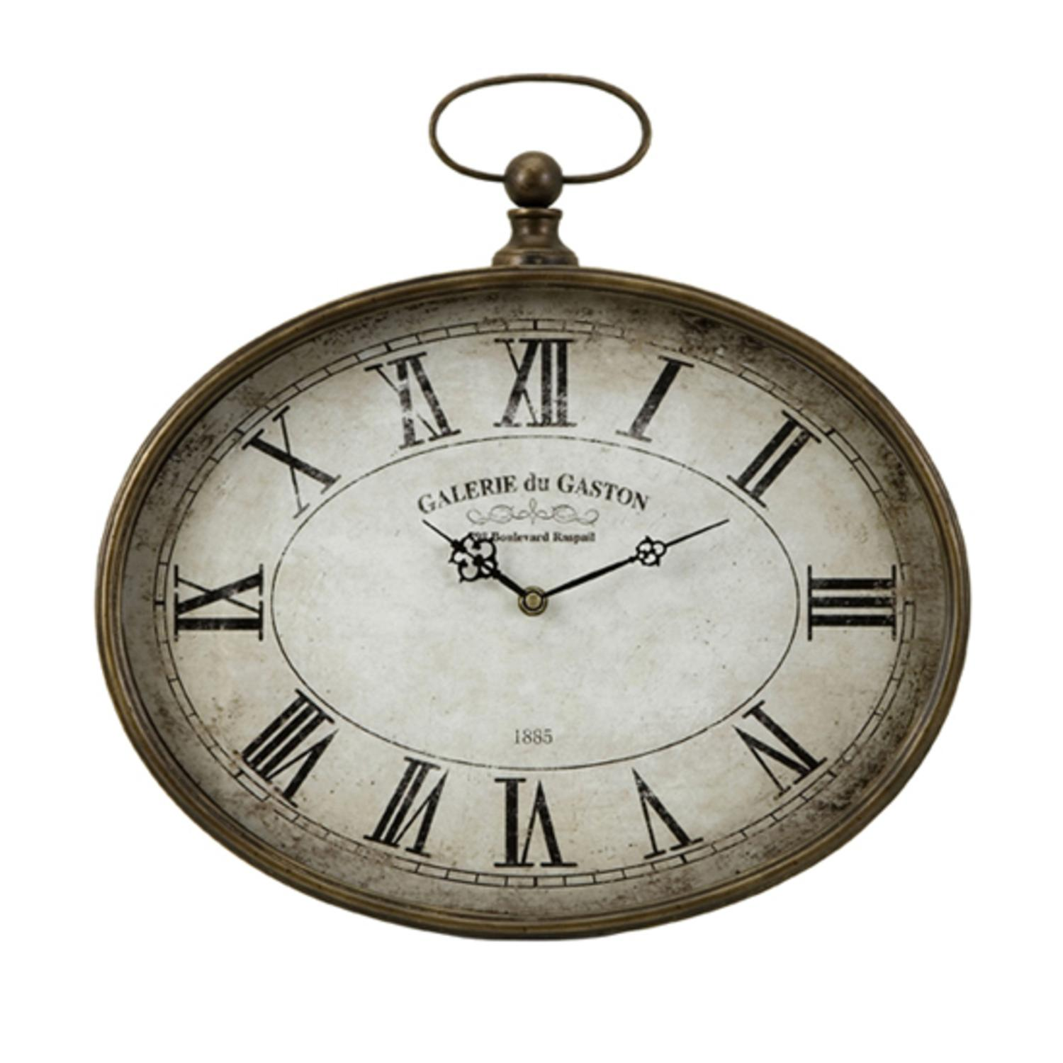 """16"""" Distressed Antique-Style Oversized """"Pocket Watch"""" Roman Numeral Wall Clock"""