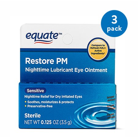 (3 Pack) Equate Sensitive Nighttime Lubricant Eye Ointment, 0.125 (Eye Ointment Dry Eyes)
