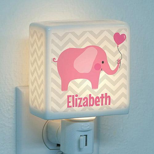 Personalized Night Light - Pink Elephant