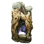 Alpine Rain Forest Waterfall Tree Trunk Fountain with LED Lights, 22 Inch Tall