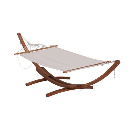 Outsunny Wide Wood Arc Outdoor Hammock & Stand