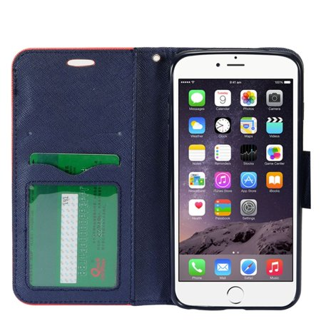 Insten Flip Leather Fabric Cover Stand Card Case Lanyard w/Photo Display For Apple iPhone 8 / iPhone 7 4.7 inch - Red/Black - image 2 de 4
