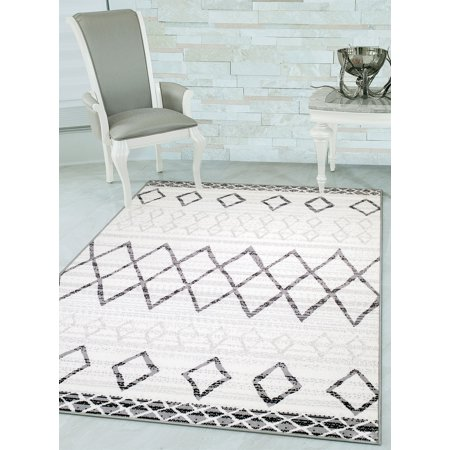 Woven Trends 044 Moroccan Vintage Tribal Modern Contemporary Area Rug with Non-Slip Rubber Back Carpet