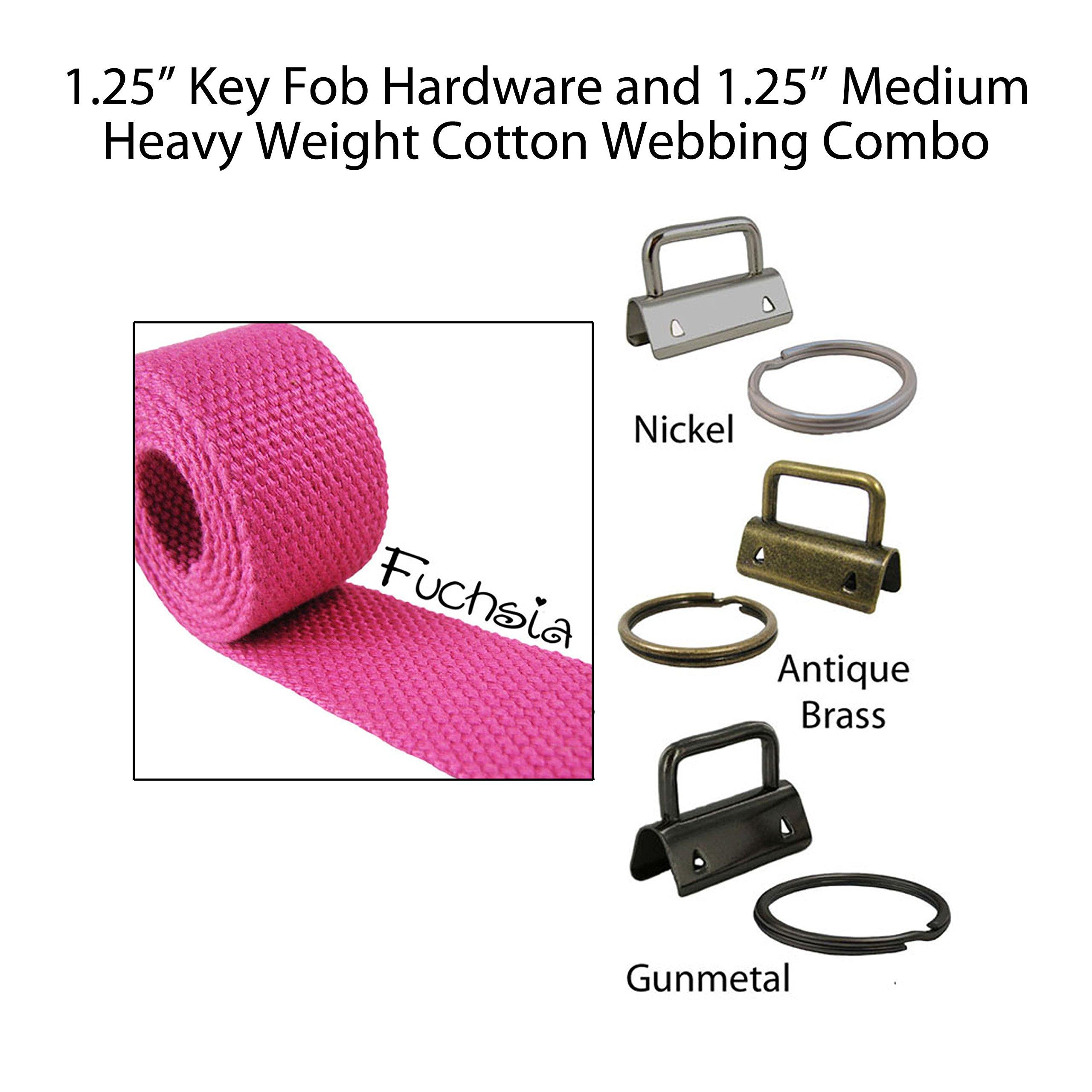"""1.25"""" Key Fob Hardware and 1.25"""" Cotton Webbing Combo - Fuchsia"""