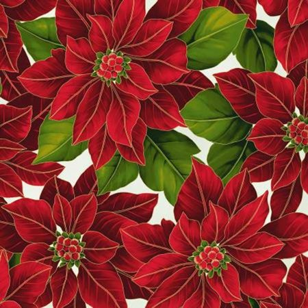 Clearance Sale~Poinsettia Song~Ivory/Gold Christmas Cotton Fabric by Hoffman](Christmas Fabric)