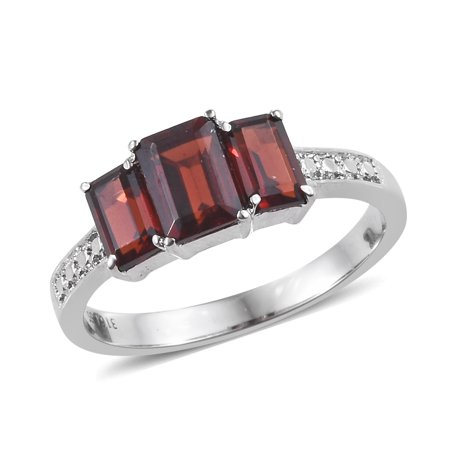 Stainless Steel Octagon Garnet Statement Ring for Women Cttw 2.1 Jewelry Gift