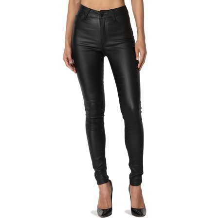 TheMogan Women's Biker High Waisted Stretch Faux Leather Skinny Pants Shiny Wet