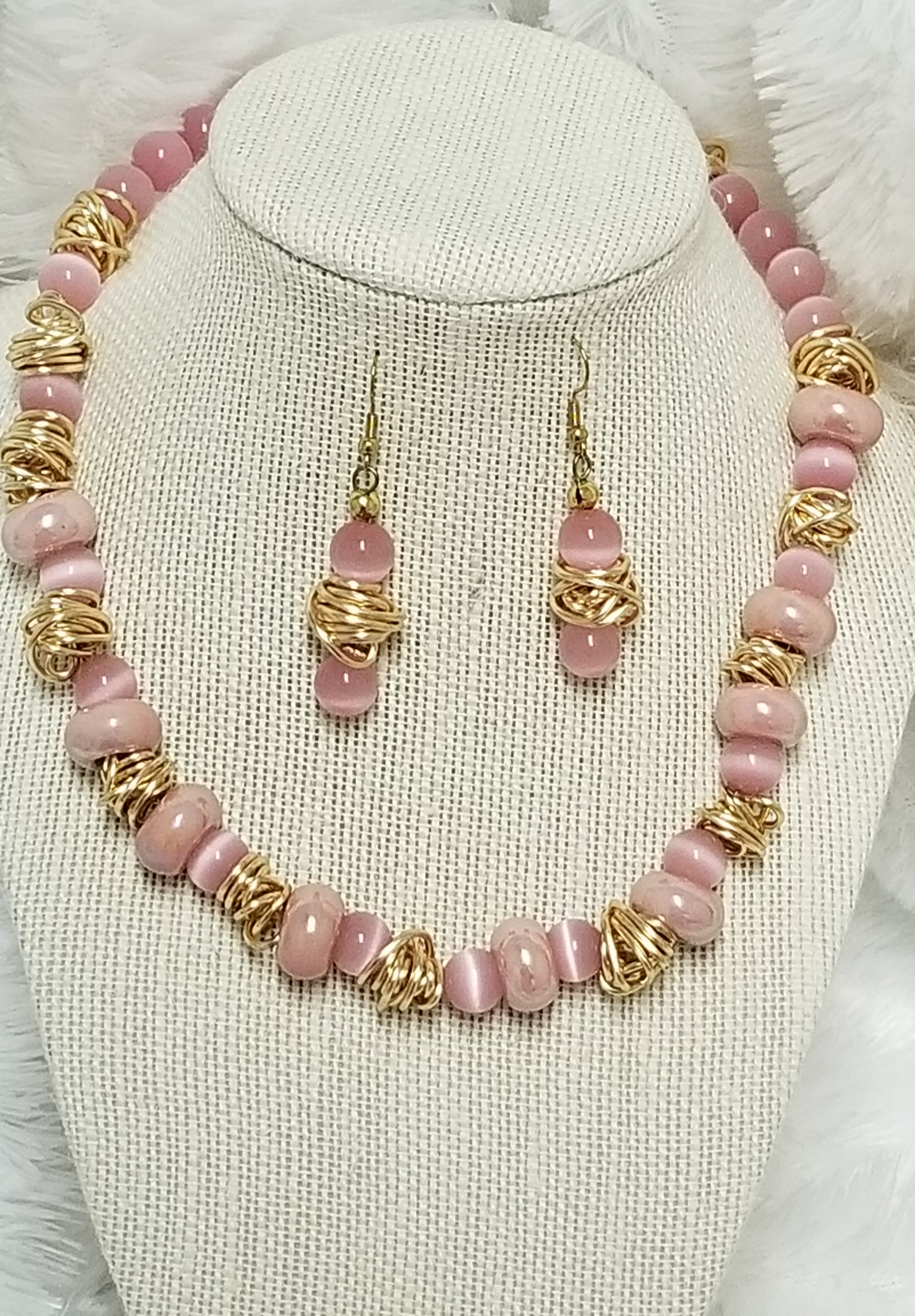 Pink Cats Eye Glass twist pendant