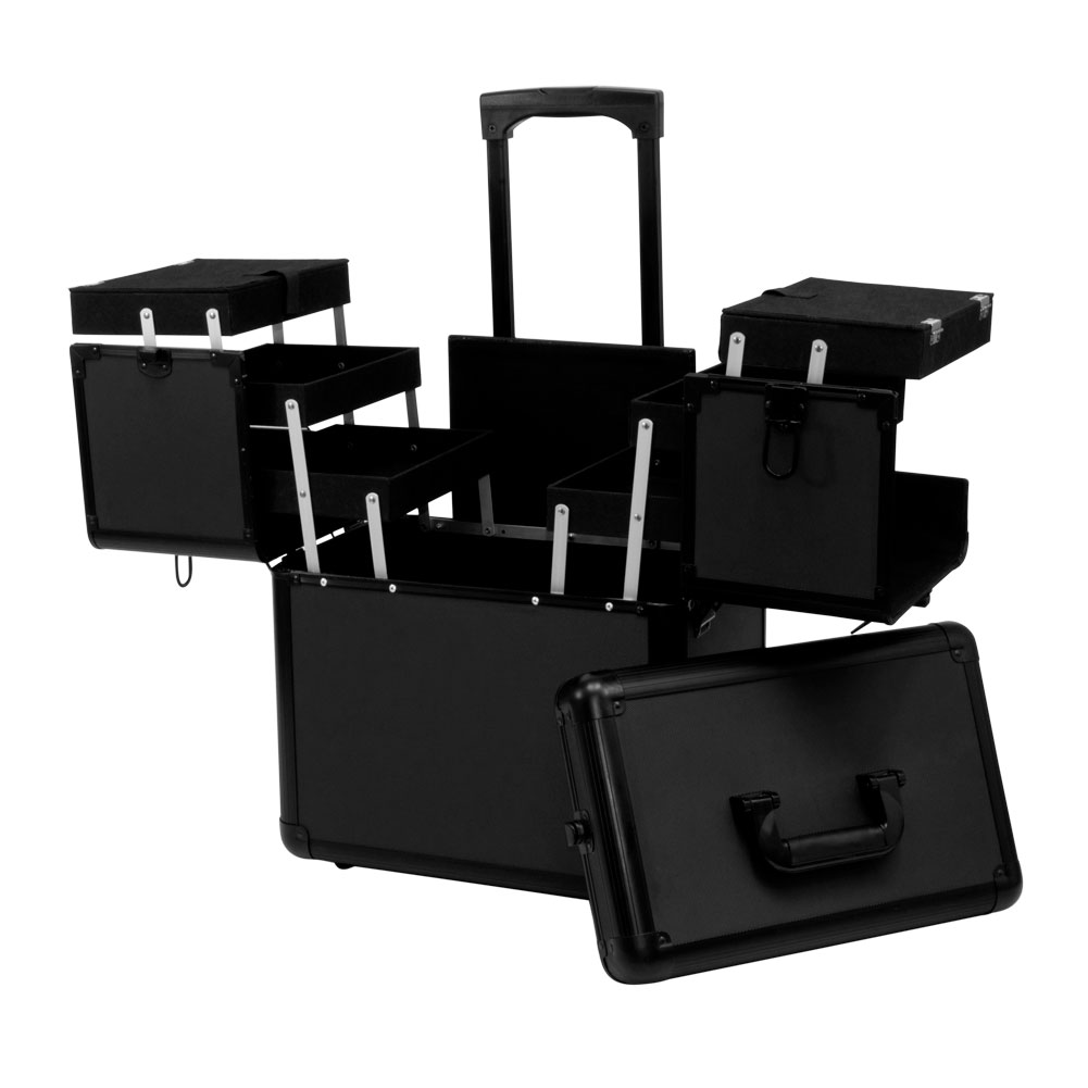 Salon Supply Store 2 Tier Rolling Makeup Storage Case, BLACK And BLACK  TRIM, MCASE