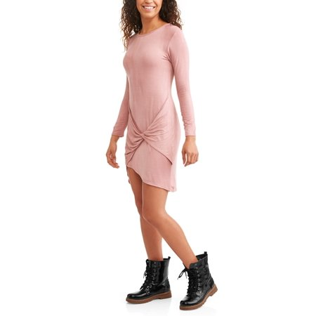 - Juniors' Wrap Front Long Sleeve Jersey Knit Hi-Low Tunic Dress