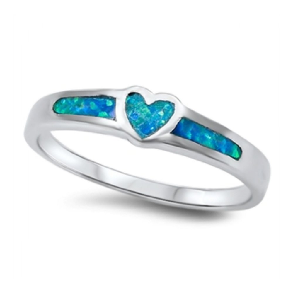 925 Sterling Silver Lab opal Gem Heart Shaped Ring by Royal Design