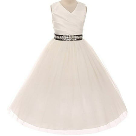 Flower Girl Dress Communion Bridesmaid Mix & Match for Little Girl Ivory Black 10 276CB](Dresses For First Communion)