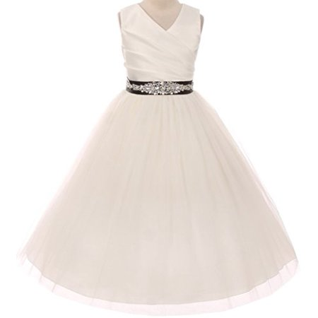 Flower Girl Dress Communion Bridesmaid Mix & Match for Little Girl Ivory Black 10 276CB