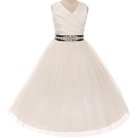 Flower Girl Dress Communion Bridesmaid Mix & Match for Little Girl Ivory Black 10 276CB - Communion Dress For Girls