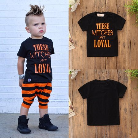 Womail Halloween Toddler Kids Baby Boys Letter Shortsleeve Tops Clothes Outfits