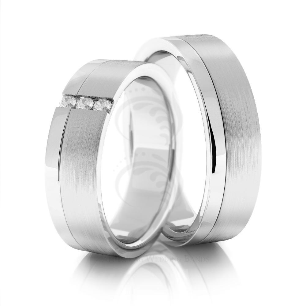 14k White Gold Satin Polished Flat Couples Wedding Rings 6mm