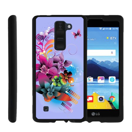 LG K8V, K8 V, VS500, [SNAP SHELL][Matte Black] 2 Piece Snap On Rubberized Hard Plastic Cell Phone Cover with Cool Designs - Purple Flower Butterfly ()